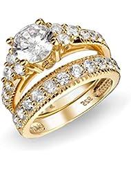 Bling Jewelry El Art Decó Oro Vermeil CZ Compromiso y Boda Juego de Anillo de Plata Esterlina 925