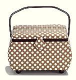 PRYM Polka Dot shaped-handle Nähkorb mit Burgund Trim, Baumwolle, Beige/Weiß, Größe L