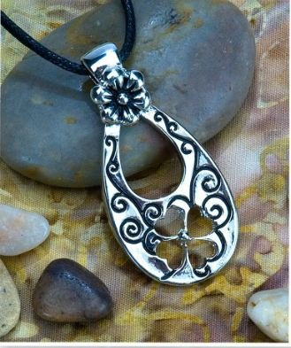 1g Solid .925 Sterling Silver 4 Leaf Clover Charm/Pendant - Rhodium Plated & Epoxy Glazed