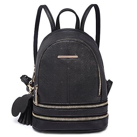 Miss Lulu Fashion Cute Cross Pattern PU Leather Satchel Casual Backpack for Girls (1705 Black)