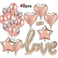 Howaf 40pcs Rose Or Love Ballons, Or Rose confettis Ballons étoile Coeur fleuret Ballons d'hélium Mariage Ballons en Latex pour Anniversaire, Mariage, Saint Valentin décoration Ballons