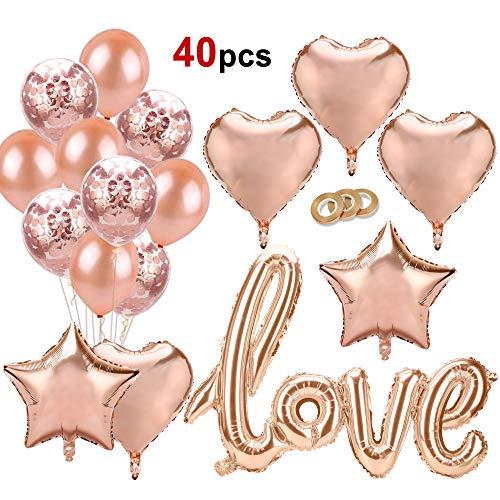 Howaf palloncini oro rosa amore decorazioni, palloncini oro rosa coriandoli cuore stella palloncini stagnola elio palloncini e ribbon per matrimonio, compleanno, san valentino decorazioni e regalo