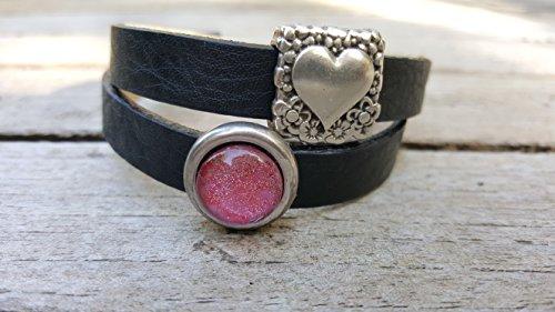 Milano Leder-armband (Milano Leder Armband schwarz mit versilbertem Herz und Glitzerstein pink)