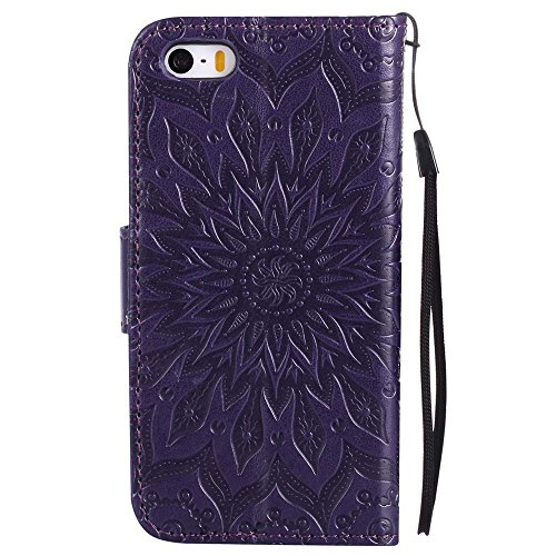 Custodia iPhone 5 / 5S / SE, cmdkd Wallet Custodia Bumper per iPhone 5 / 5S / SE. (Rosso) Porpora