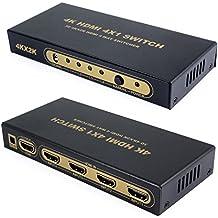 Incutex 4K HDMI Switch 4x1 ULTRA HD 2160P Dolby True HD UHD 3D, multiplicador 4 por 1 HDMI incl. adaptador de corriente y mando a distancia Switch HDMI
