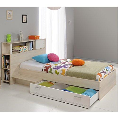 Funktionsbett 90*200 Cm Grau Inkl. Anstellregal Kopfteil + Bettkasten  Kinderbett Jugendbett Jugendliege Bettliege