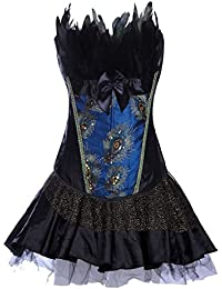 Valin Sexy Peacock Pattern Corset With G-String,Peacock With TuTu