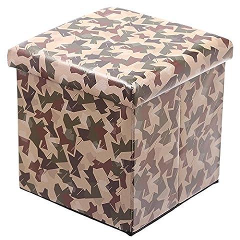Stallion pliable Tabouret rembourré et boîte de rangement–Motif camouflage