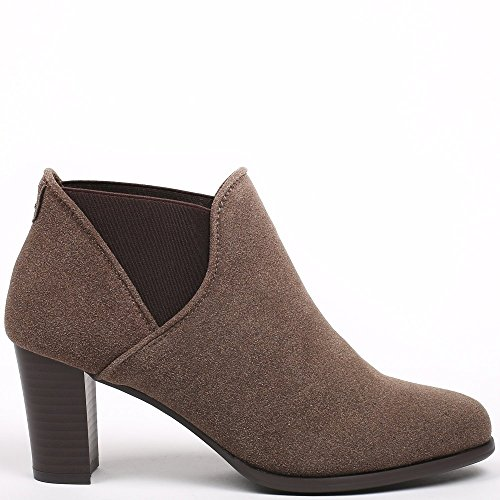 Ideal Shoes - Bottines à talon style chelsea Thara Taupe
