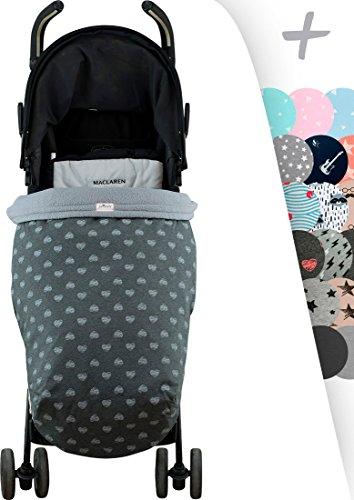 Janabebé Sacco coperta bambino copri piedi impermeabilizzato universale Maxi Cosi, Bugaboo, Maclaren, BabyBjörn, Chicco, Jane, Babby Jogger (BLUE HEART, PILE)