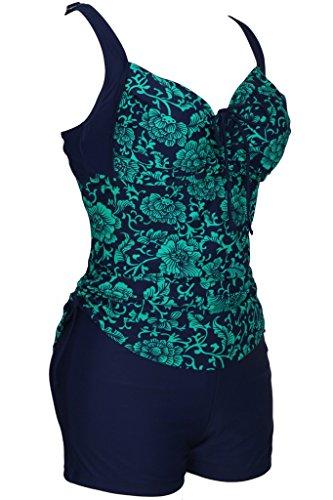 Große Größen Tankini mit Blumendruck Damen Zweiteiliger Badeanzug mit Hotpants Hellgrün