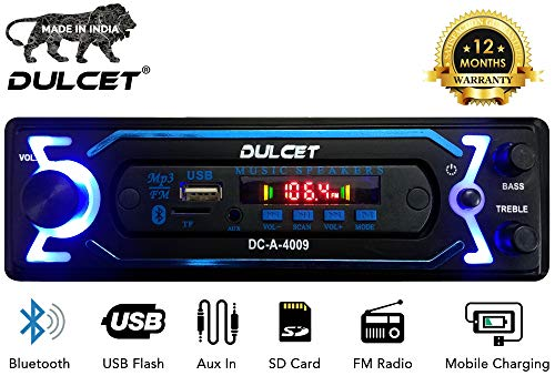 Dulcet DC-A-4009 Double IC High Power Universal Fit Mp3 Car Stereo with Bluetooth/USB/FM/AUX/MMC/Remote & Built-in Equalizer with Bass & Treble Control[Also, Includes a Free 3.5mm Aux Cable]