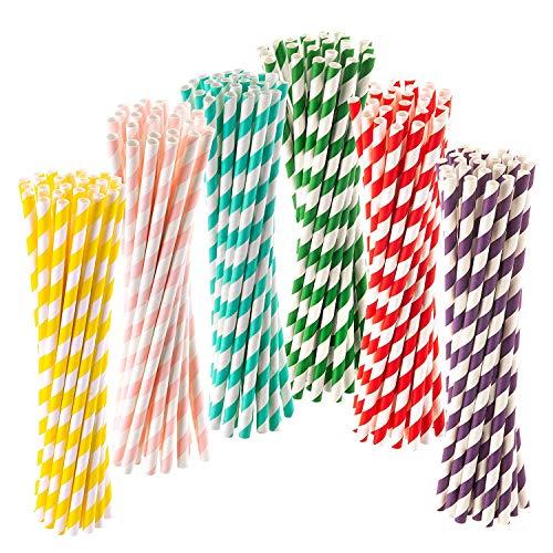 300 Stück Papierstrohhalme, Trinkhalme Biologisch Abbaubare Einweg-Strohhalme Papier Stroh Paper Straws Bunte Papier Trinkhalme für Partys, Hochzeiten und Anlässe, in 6 Farben, Lebensmittelecht