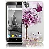 thematys Wiko Sunny 2 Plus Kirschblütenbaum Schmetterlinge Handy-Hülle Silikon - staubdicht, stoßfest und leicht - Smartphone-Case Wiko Sunny 2 Plus