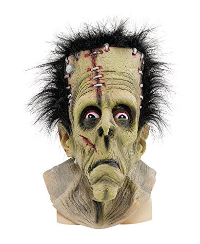 shoperama Frankenstein Deluxe Maske mit Haaren Erwachsene Latex Halloween