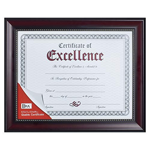 Prestige Document Frame, Rosewood/Black, Gold Accents, Certificate, 8 1/2 x 11, Sold as 1 Each - Rosewood Trim