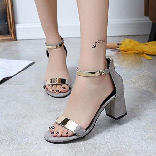 Transer ® Vêtements femme talon épais loisirs doux Tongs sandales d'été Gris