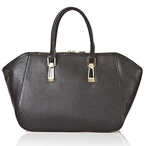 italienische Damen Handtasche Paris aus echtem Leder in schwarz, Made in Italy, Shopper Bag 43x24 cm