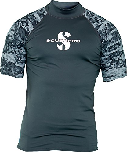 Scubapro GRAPHITE Rash Guard Kurzarm Herren Slim Fit UV-Shirt Collection 2017 (L)