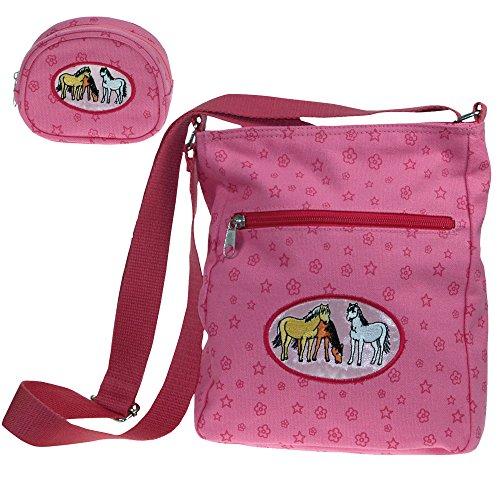 Traumpferdchen Taschenset,2-tlg. mit rosa Pferdemotiv Pferdeumhängetasche, Blumen und Sterne, 3 Pferde, bestehend aus Traumpferdchen-Tasche in rosa und Geldbörse in rosa