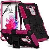 (Pink) LG G3 individuell bestückt Schutz Schock Beweis Shell Case Hülle, Retractable Touch-Screen-Stift, Retractable Touch Screen Stylus Pen & LCD-Display Schutzfolie von Spyrox