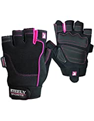 Steely de Sports–Guantes para mujer fitness Workout Glove–Lady de Edition–Color: Negro/Rosa Tamaño: XS, S, M y L), mujer, Workout Glove Lady, negro, large