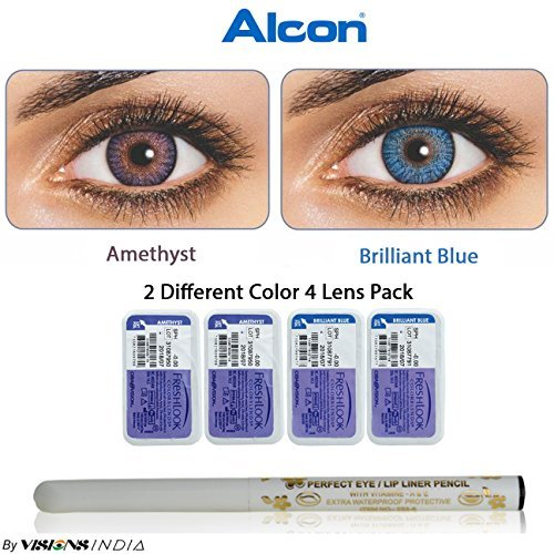 5c53fea3f61 Alcon 0734130620097 Freshlook Monthly 2 Color Combo Amethyst Brilliant Blue  Zero Power Contact Lenses With Free Eye Lip Liner 4 Lens Pack By Visions  India ...