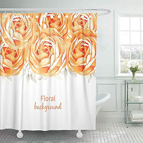 LINGJIE Duschvorhang Beautiful Anniversary Watercolor Flower Roses Autumn Blossom Bridal Shower Curtains Sets Hooks Waterproof Polyester Fabric
