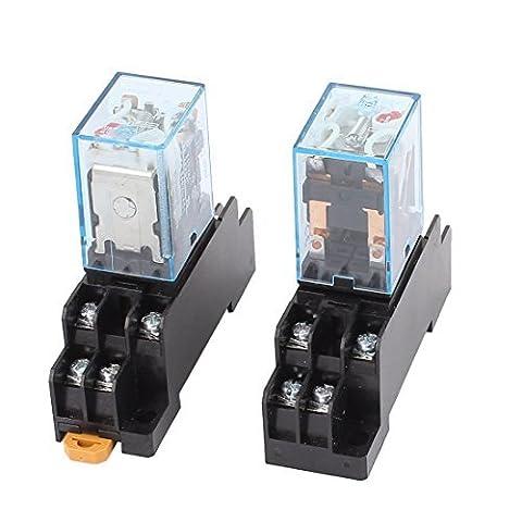 DealMux 2PCS MY2N-J AC 24V Coil 8P DPDT Electromagnetic Power Relay w Socket Base