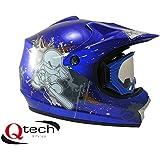 Qtech Casco protector con gafas para niños - Para motocross y todoterreno - Azul - XS (51-52 cm)