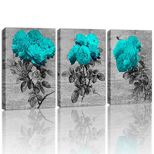 DVQ ART Wandbild für Schlafzimmer, Eiffelturm, Wandkunst, Muschel, Kunstwerk, für Wohnzimmer, Dekoration, 3-teilig 12x16inchx3pcs Blue Rose Flower Wall Art Decor