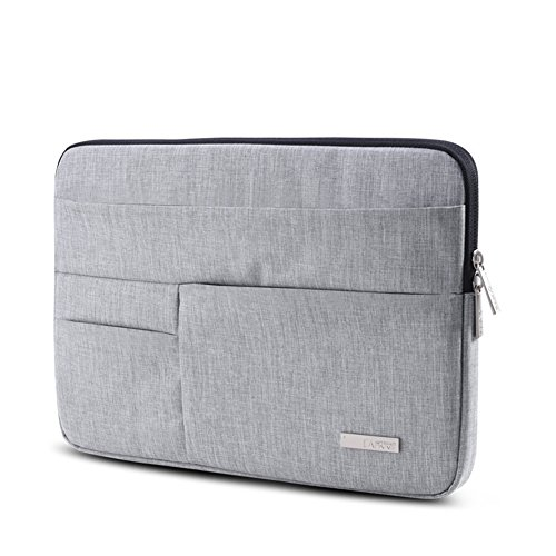 Feisman Sleeve Hülle Tasche für 15-15,6 Zoll MacBook Pro, Notebook Computer Wasserresistente Lycra Laptophülle Schutzhülle Laptoptasche Notebooktasche mit Kleinen Fall - (Grau) -