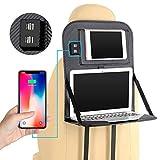 Laptop Stand Tablett Tasche Faltbares Regal Mit 4 USB-Port-Auto-Sitz-Organisator Leder Material,Gray