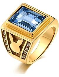 Aooaz Gioielli anello fascia anello acciaio uomo lucida finitura Coniglio con pietra anello gotico anelli fidanzamento anello biker