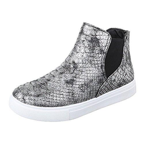 Ital-Design Chelsea Boots Damen Schuhe Chelsea Boots Moderne Stiefeletten Schwarz Silber X-37