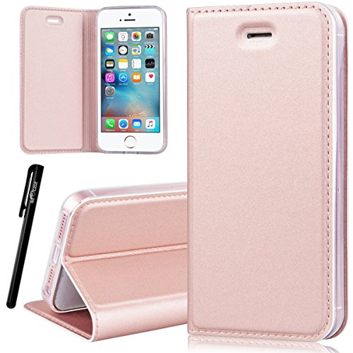 Coque iPhone 5 , We Love Case Coque iPhone 5 5S Etui en Cuir PU Housse Portefeuille Protection Pochette Folio Case Book Style Flexible Transparent TPU Silicone Case Cover Fonction Stand Étui iPhone 5 5S SE Cuir Or Rose Gold