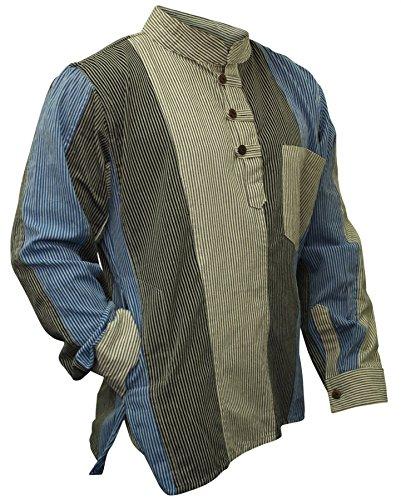 Mens Multicoloured Striped Hippie Grandad Shirt (XL)