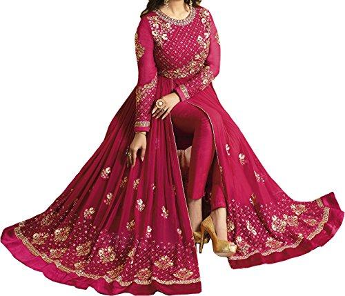 Ethnic Yard Women\'s Designer Front Back Faux Georgette Festive Wear Indian Style Pink Anarkali Salwar Suit Gown