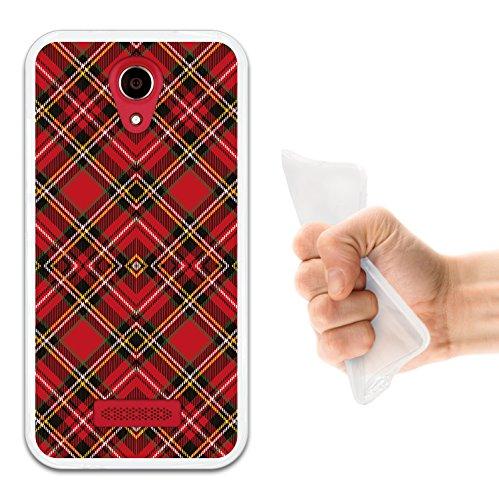 WoowCase Doogee X3 Hülle, Handyhülle Silikon für [ Doogee X3 ] Rote und braune schottenkaro Raute Handytasche Handy Cover Case Schutzhülle Flexible TPU - Transparent