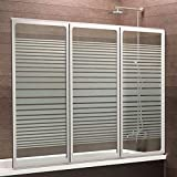 Schulte Duschwand München, 130 x 120 cm, 3-teilig faltbar, 3 mm Sicherheits-Glas Dekor Querstreifen, alpin-weiß, Duschabtrennung für Wanne