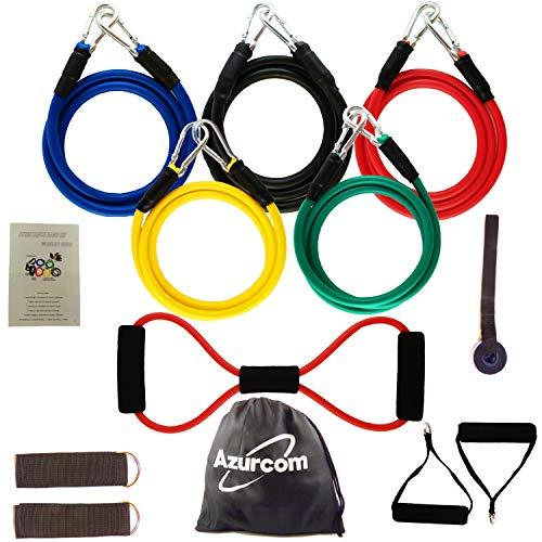 Azurcom kit di fasce di resistenza, 12 pezzi, elastico per sport muscolare, fascia elastica per fitness, yoga, pilates, crossfit, diversi livelli da 3 a 16 kg, per uomo e donna