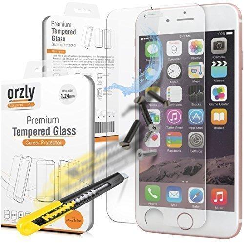 Orzly® - Premium Hartglas Displayschutzfolie für Apple iPhone 6 PLUS & 6S PLUS (5.5 Zoll Modellen - 2014 Modell & 2015 Version) - 0,24mm Gehärtetem Glas - Tempered Glass Screen Protector - Transparent