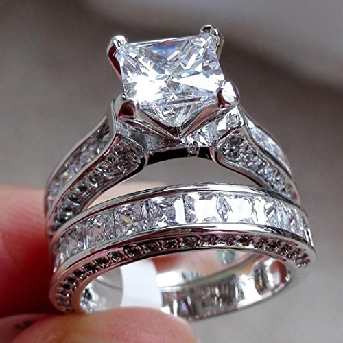 Wedding Ring , PLOT 2-in-1 Womens Vintage White Diamond Silver Engagement Wedding Band Ring Set (7)