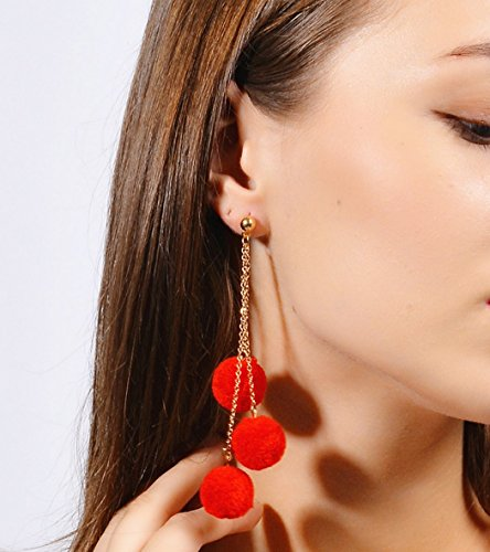 jovono Pom Pom pendientes Dangle eardrop Simple para fiesta Prom Boda (rojo)