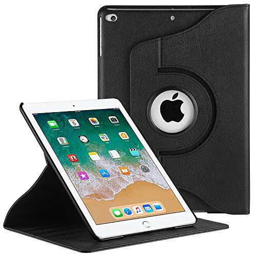 EasyAcc iPad 9.7 Zoll 2018 2017 / iPad Air/iPad Air 2 Hülle, 360 Grad Drehung Schutzhülle Flip Case Book Cover Lederhülle mit Standfunktion/Auto Sleep - PU Leder (Schawz - 360 Grad Drehung) -