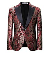 Mens Red Paisley Wedding Suit Floral Printed Tuxedo Blazer Jacket and Black Trousers