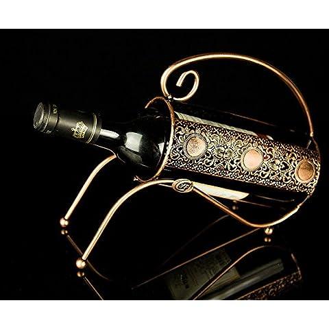 Finitura in acciaio inossidabile vino Rack supporto a pavimento contiene?antiquariato Europeo vino vino cremagliera,oro antico