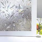 Zindoo 3D ohne Klebstoff Fensterfolie Dekorfolie Sichtschutzfolie Blumen Entwurf Privatsphäre Schutz Fenster Folie für Heim Kueche Buero 45*200CM