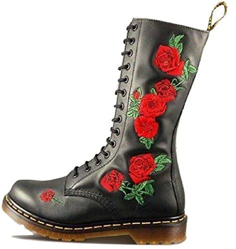 Dr Martens Vonda donna 14occhielli al ginocchio in morbida pelle floreale stivali Black