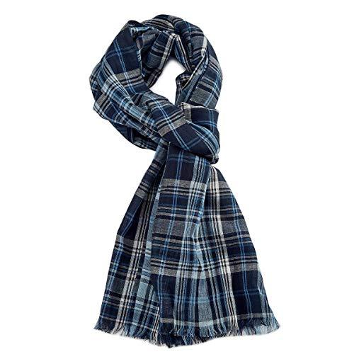 ROYALZ Schal für Herren kariert klassisch Herrenschal weich leicht dünn Karo Muster XXL Halstuch stilsicheres Accessoires mehrfarbig - ganzjährig tragbar, Farbe:Blau/Weiß